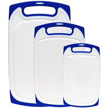Dutis 3-Piece Dishwasher Safe Plastic Cutting Board Set with Non-Slip Feet and Drip Juice Groove, White with Blue