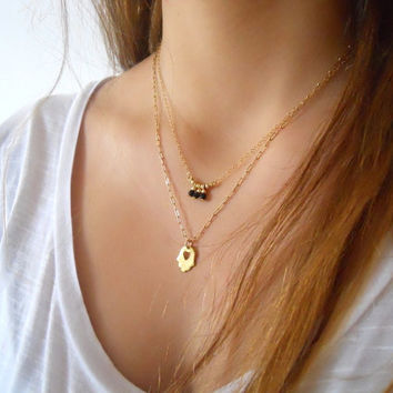 Layered Gold Necklace Set. Beads Pendant and Hamsa.  Pick Your Color. Delicate Gold Necklace.