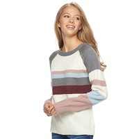 Juniors' Pink Republic Striped Long Sleeve Sweater | null