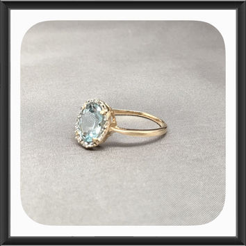 Natural Aquamarine and Diamond Ring in 10k White Gold, Anniversary Ring, Engagement Ring, Promise Ring