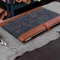 HAND MADE, Ultra-Light Macbook Pro Retina 13, Tan and Gray leather case
