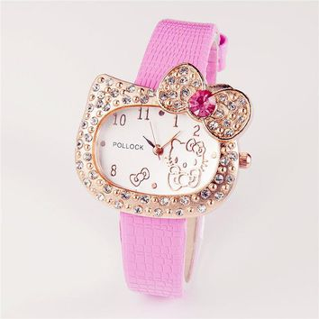 Hot Sales Cartoon Watch Hello Kitty Watch Children Girl Women Crystal Dress Quartz lady Wristwatch kol saati Relogio Feminino