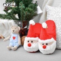Santa Claus Home Indoor slippers couples thick bottom home children cotton slippers Winter non-slip cotton drag