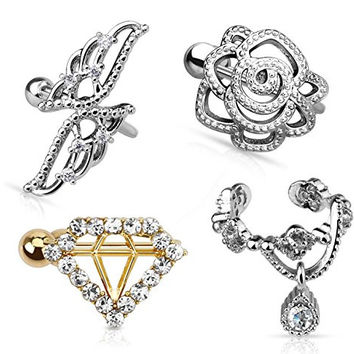 PACK of 4 Ear cuffs for non-pierced ears, diamond shape, rose, wings, dangly gem - FREE- Gift Box