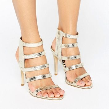 New Look Metallic Strappy Heeled Sandal at asos.com