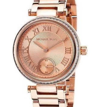 NEW Michael Kors MK5971 Women Mini Skylar Rose Gold Glitz Bracelet Watch