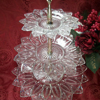 Glass Three Tier Decorative Serving Platter - Vintage Entertaining Tabletop Tray From TKSPRINGTHINGS Christmas Home Decor Collection