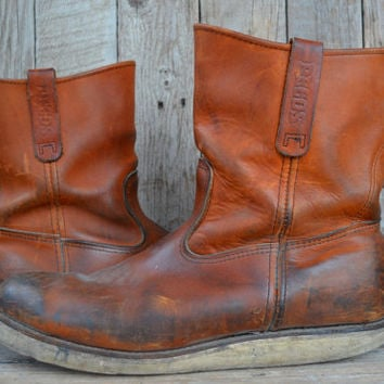 Vintage RED WING Pecos Pull On Crepe Sole Work Boots, 13 D