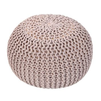 Handmade Round Knitted Pouf | Silver Gray | 50x35cm | GFURN