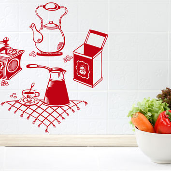 Wall Vinyl Decal Coffee Grinder Maker Tea Maker Kitchen Interior Decor Unique Gift z4665
