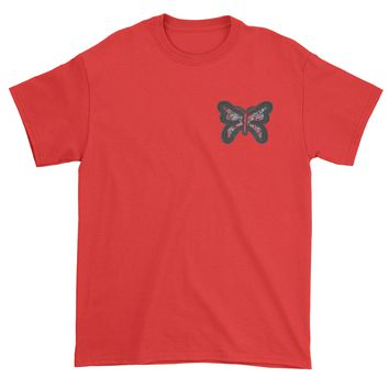Embroidered Rhinestone Butterfly (Pocket Print) Mens T-shirt