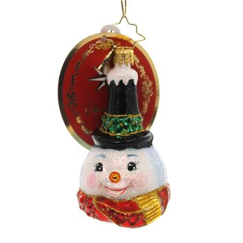 Christopher Radko SNOWY STOVE PIPE LITTLE GEM Glass Snowman 1019186
