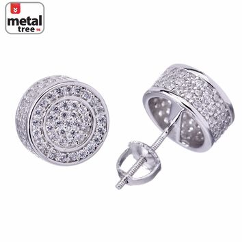 Jewelry Kay style Men's Hip Hop Bling 3D Round Circle Square Flat Screen Screw Back Stud Earrings