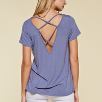Criss Cross Back Modal Top - Periwinkle