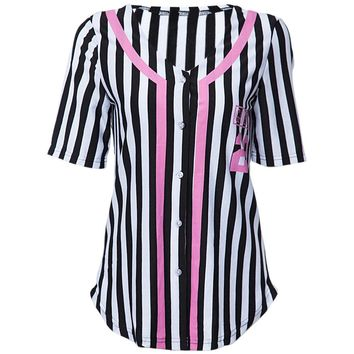 Casual V Neck Short Sleeve Black and White Stripes Letter Print Design Women's Shirt