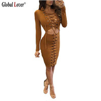 Front Lace Up Fall Bandage Dress Sexy Deep V Neck Long Sleeve Business Work Office Dresses Bodycon Vintage Ladies Clothing