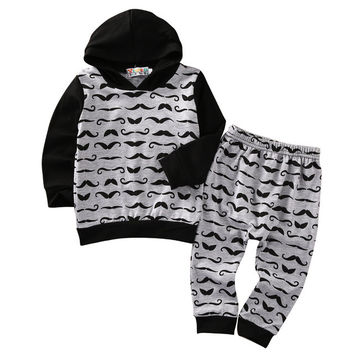 New arrival  boys clothes set Mustache Newborn Baby Boys Toddler Hooded Tops +Long Pants Outfits Set Clothes