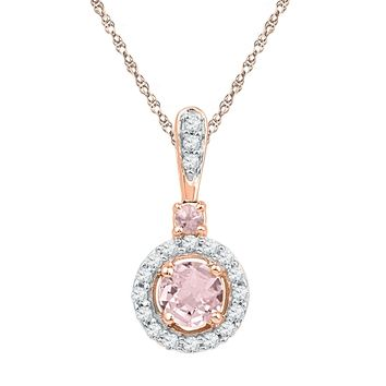 10kt Rose Gold Womens Round Lab-Created Morganite Solitaire Pendant 3/8 Cttw