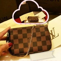 LV Fashion New Monogram Tartan Print Leather Leisure Shopping Shoulder Bag Women