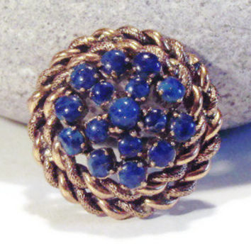1960s Vintage Golden and Lapis Circle Brooch FREE North American Shipping