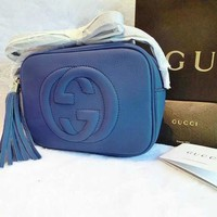 Gucci Shouder Bag Tassel Small Bag Women Leather Shoulder Bag Crossbody Handbag Small Satchel B/A Navy Blue