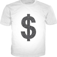 Faux silver and black swirls doodles Dollar Classic T-Shirt White