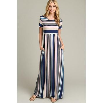 Calliope Short Sleeve Striped Maxi Dress - Pink