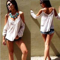 Casual Boho Lace Off Shoulder Shirt Summer Crop Tank Tops Blouse
