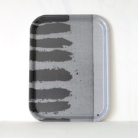 serving  Tray -  melamine platter  - small rectangular striped in  gray and black - kitchen decor - sale