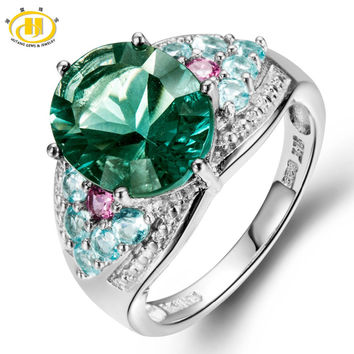 Hutang 6.16Ct Genuine Green Fluorite, Apatite, Tourmaline 925 Sterling Silver Cocktail Ring Women Fine Jewellry