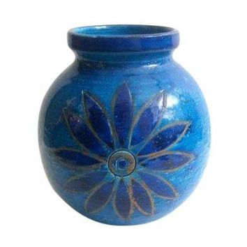 Pre-owned Round Bitossi Blue Flower Vase by Aldo Londi