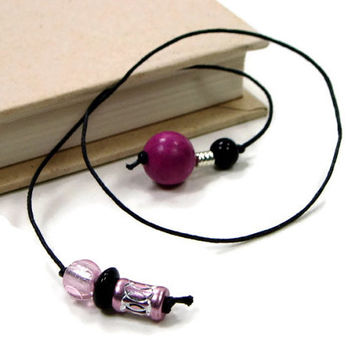 Book Thong Bookmark, Beaded, Book String, Book Cord, Rose, Pink, Black, Teacher Gift, Bible Bookmark