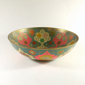 Antique Indian Etched Painted Brass Multicolor Brass Bowl