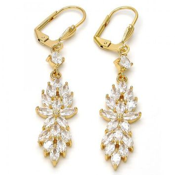 Gold Layered Long Earring, Flower and Leaf Design, with Cubic Zirconia, Gold Tone