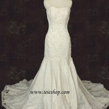 Lace Mermaid Fit and Flare Wedding Gown with Soft Curved Neckline