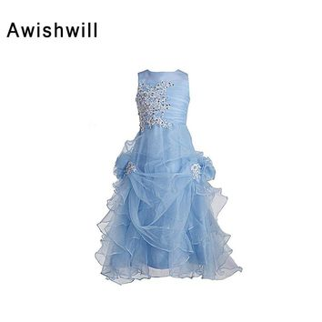 Newest Sleeveless A-line Blue Little Flower Girl Dresses for Weddings First Communion Dresses For Girls Kids Evening Gowns 2018