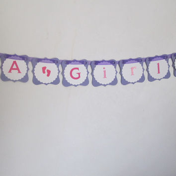 It's A Girl Baby Banner, Purple Pink and White Owl Theme, Baby Shower Decor