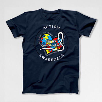 Autism Speaks T Shirt Grandpa Gifts For Grandma Autistic Support TShirt Charity Shirt Awareness For My Granddaughter Mens Ladies Tee DN-677