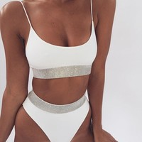 Fashion Ladies Pure Color Shiny Sequins High Waist Two Piece Bikini Swimsuit Bathing White