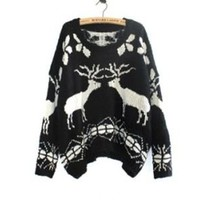 Fashion Loose Style Asymmetric Knitted Snow & Reindeer Pattern Women's Sweater