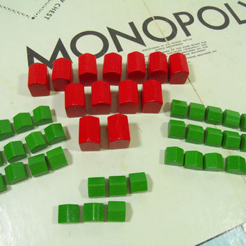 Vintage Wooden Red Hotels & Green Houses from Parker Brothers Monopoly Games - Collection of 46 Miniature Game Equipment Pieces to Repurpose