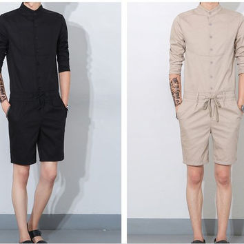 Men's Casual Loose Bib Overalls Korean Cargo Rompers 71406
