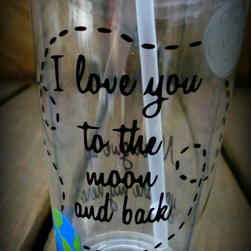 Personalized I Love you to the moon and back custom made tumbler, I love you Tumbler, I love you more Personalized tumbler, Science Gift