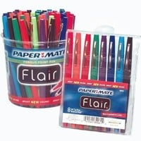 Paper Mate Flair Acid-Free Fast Dry Non-Toxic Point Guard Pen Set, Felt Medium Tip, Assorted Colors, Set of 48