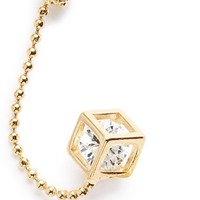 Women's Topshop 'Chain & Cube' Ear Cuff & Stud Mismatched Earrings - Gold