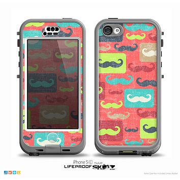The Vintage Coral and Neon Mustaches Skin for the iPhone 5c nüüd LifeProof Case