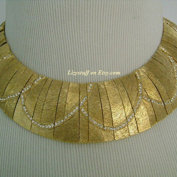 Glamorous Les Bernard Brushed Textured Finish Gold Tone Accented With Sparkling Tiny Rhinestones Accents Egyptian Revival Cleopatra Necklace
