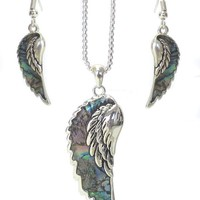 Abalone Angel Wing Necklace Set