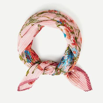 Pink Pleated Floral Scarf