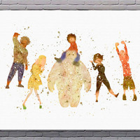 Big Hero 6 Disney Hiro Hamada Baymax Watercolor Art Print Instant Download